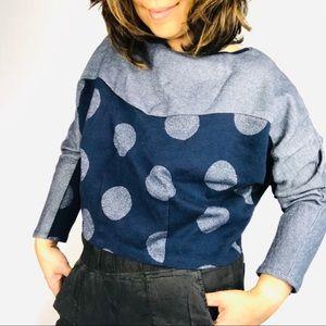 Anthropologie Postmark cropped polka dot sweater